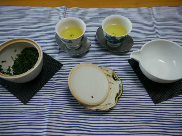 presentación de té verde japonés