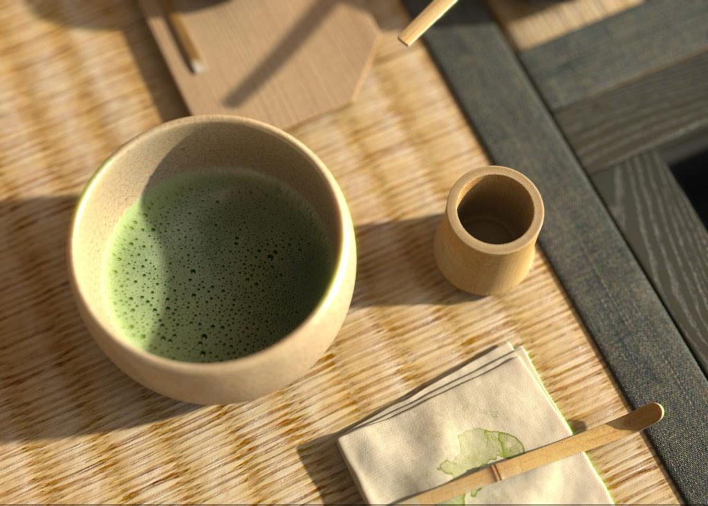 matcha bol y cuchara de té matcha